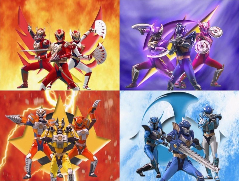 From top left in a clockwise direction, Flame Tribe, Wind Tribe, Water Tribe, Earth Tribe
