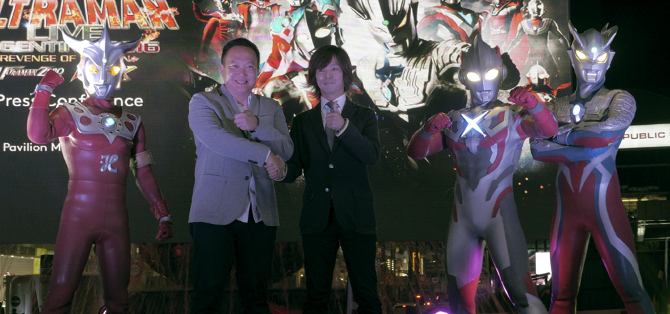 RW Genting VP Promo & Entertainment Kevin Tann and Tsuburaya Productions' Yoshihide Tanaka, flanked by the three Ultra heroes. PHOTO BY: Basil Yeo
